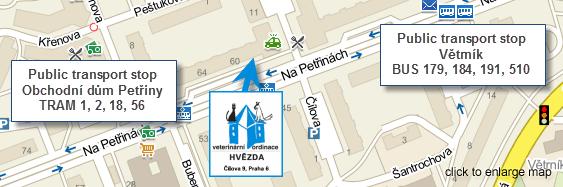 Veterinary clinic Petřiny, Praha 6, Hvězda - map